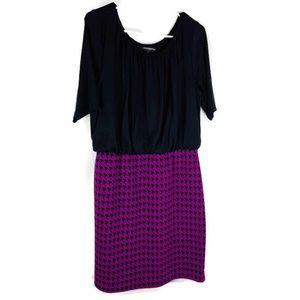 Sharagno Black & Purple Houndstooth Dress Size 12